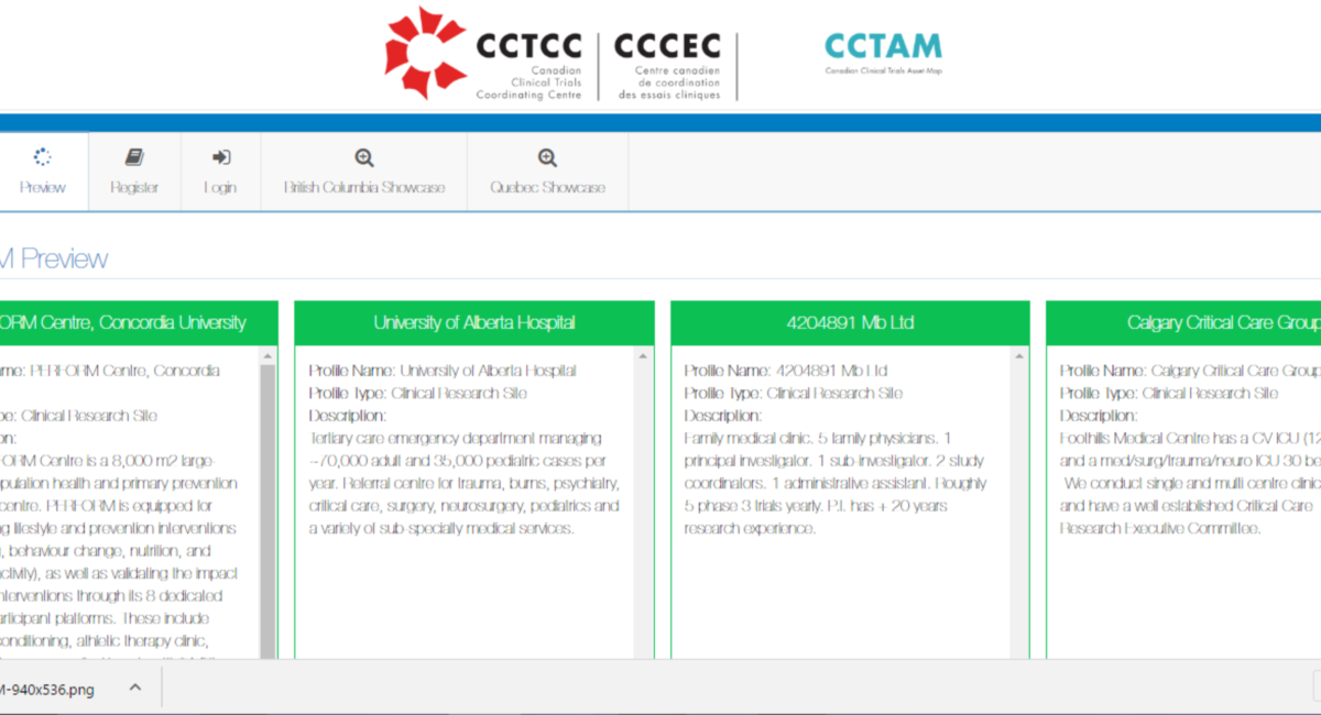 The Canadian Clinical Trials Asset Map (CCTAM)